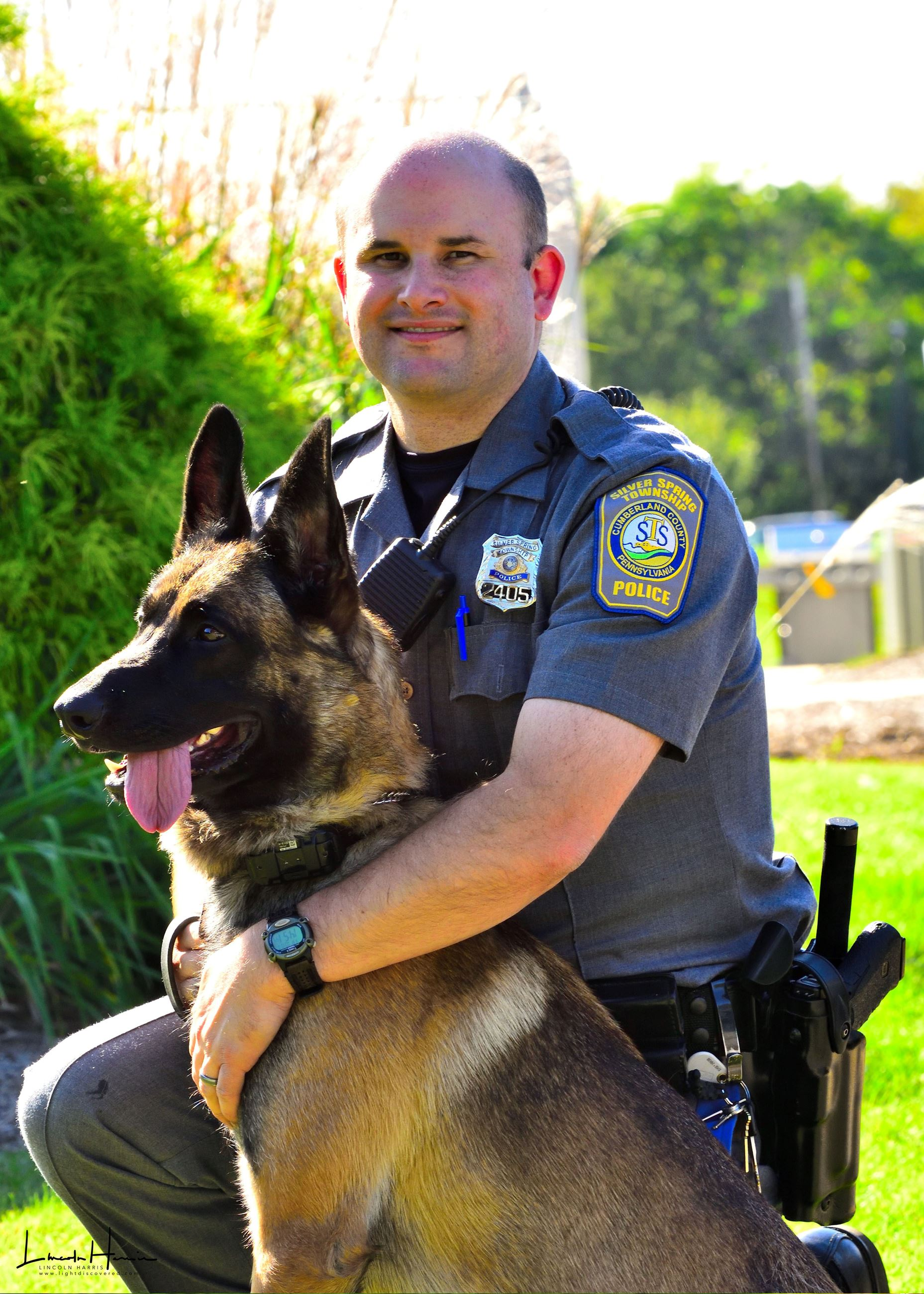 Tracker Augustus with Officer Dave Frascella